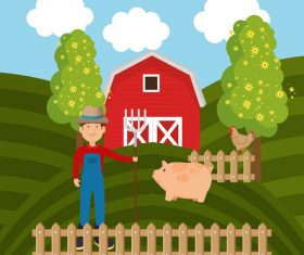 Agriculture with farm design vector material 03