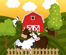 Agriculture with farm design vector material 04