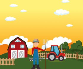 Agriculture with farm design vector material 08