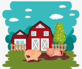 Agriculture with farm design vector material 09