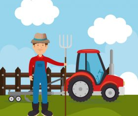 Agriculture with farm design vector material 10