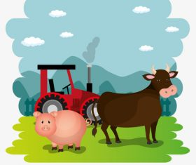 Agriculture with farm design vector material 12