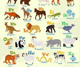 Alphabet with animal vector