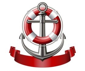 Anchor and red ribbon vector