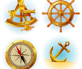 Anchor with compass vector