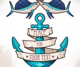 Anchor with fish retro design vector