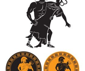 Ancient greek badge design vector