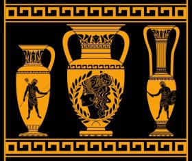 Ancient greek bottle decor design vector