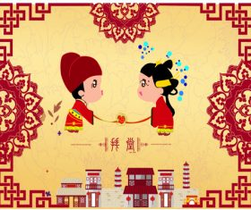 Ancient wedding cartoon character vector