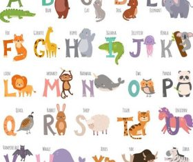 Animal with letters vector
