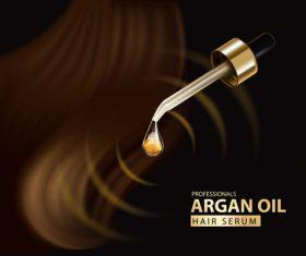 Argan oil hair serum advertisement background vector