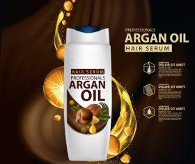 Argan oil hair serum advertisement poster vector 01