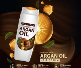 Argan oil hair serum advertisement poster vector 02