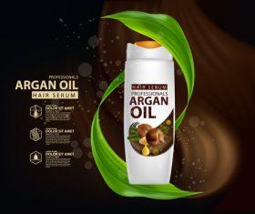 Argan oil hair serum advertisement poster vector 03