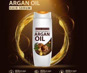 Argan oil hair serum advertisement poster vector 04