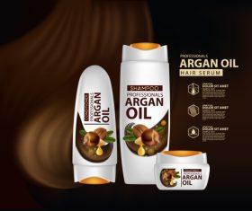 Argan oil hair serum advertisement poster vector 06