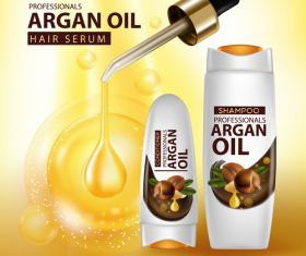 Argan oil hair serum advertisement poster vector 07