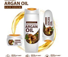 Argan oil hair serum advertisement poster vector 08