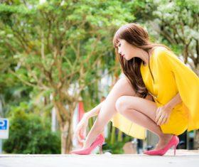 Asian pretty girl posing on the street Stock Photo