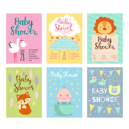 Baby Shower Card Template Vector Set 03 Free Download