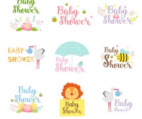 Baby shower card template vector set 07