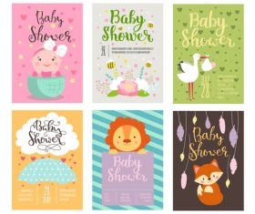 Baby shower card template vector set 08