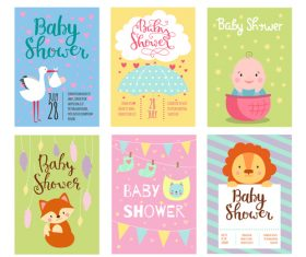 Baby shower card template vector set 09