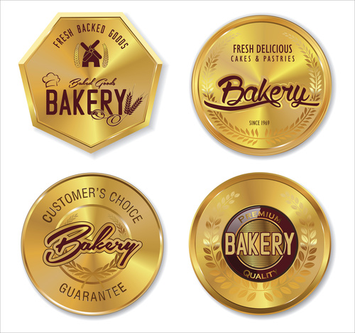 Bakery golden labels vector
