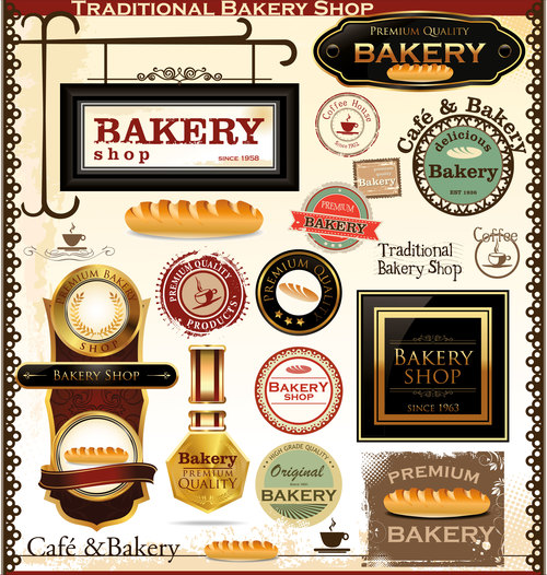Bakery labels wiht sign and badge vector 01