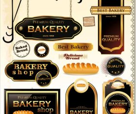 Bakery labels wiht sign and badge vector 02
