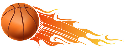 Basketball with fire flame vector 01