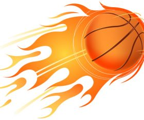 Basketball with fire flame vector 02