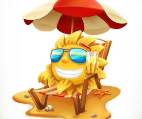 Beach umbrella and sun 3d vector