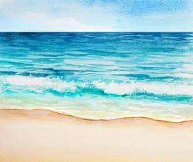 Beach with sea watercolor painting background vector 01