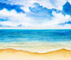 Beach with sea watercolor painting background vector 02