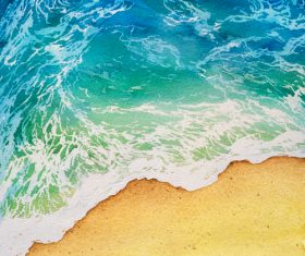 Beach with sea watercolor painting background vector 03