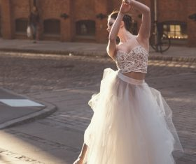 Beautiful ballet dancer performing on street Stock Photo