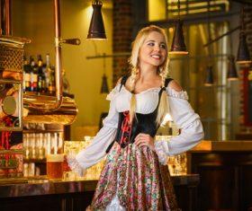 Beautiful bar waitress Stock Photo