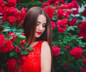 Beautiful girl in the blossoming garden Stock Photo 04