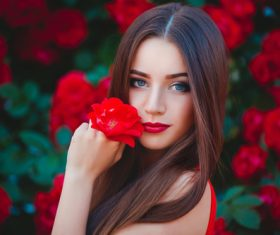Beautiful girl in the blossoming garden Stock Photo 05