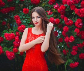 Beautiful girl in the blossoming garden Stock Photo 06