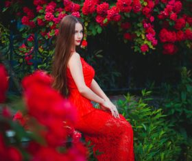 Beautiful girl in the blossoming garden Stock Photo 07