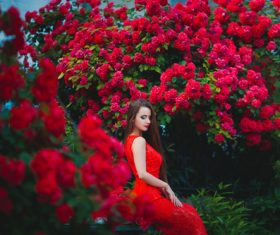 Beautiful girl in the blossoming garden Stock Photo 08