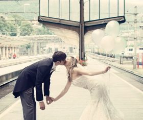 Beautiful personality travel wedding photos Stock Photo