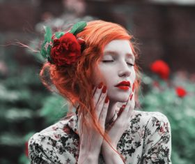Beautiful red haired girl Stock Photo