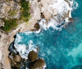 Beautiful rocky clear beach from high view Stock Photo