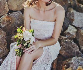 Beautiful woman wearing beautiful wreath Stock Photo