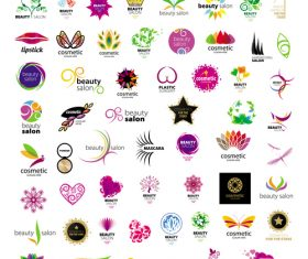 Beauty with cosmetics logos design vector set