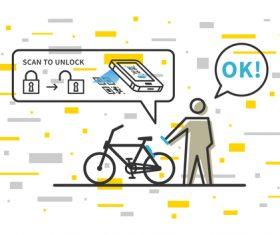 Bicycle renting app design vector 04