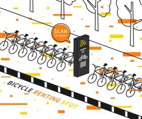 Bicycle renting app design vector 06